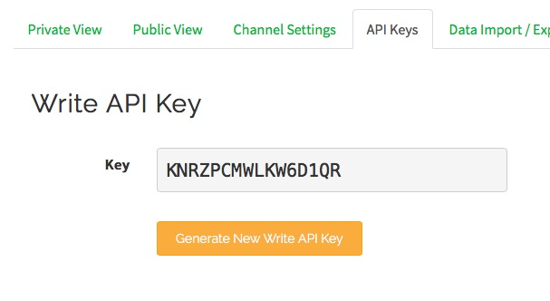 ThingSpeak API Keys
